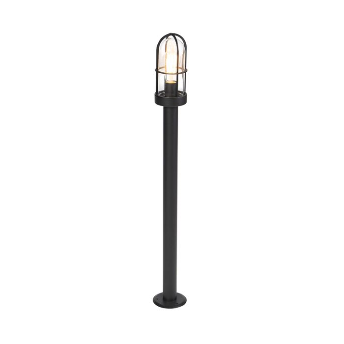 Country-Outdoor-Pole-100cm-Black-with-Glass-Shade---Elza