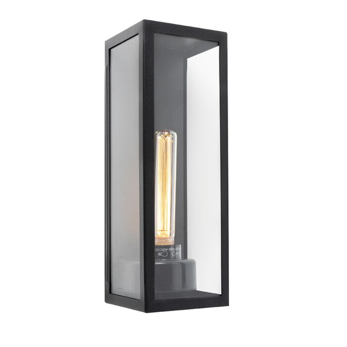 Modern-Outdoor-Wall-Lamp-Black-with-Glass-Panels---Rotterdam-Long