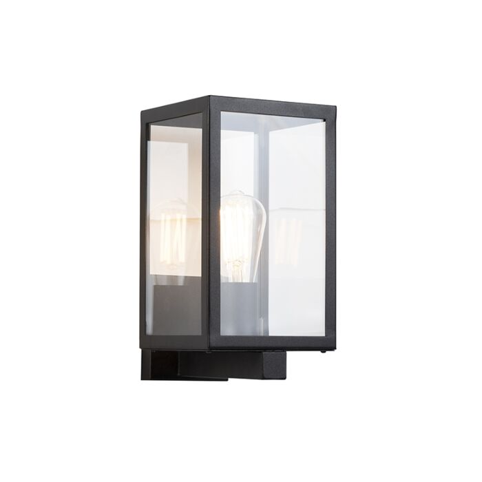 Modern-rectangular-exterior-wall-lamp-black-with-glass---Rotterdam