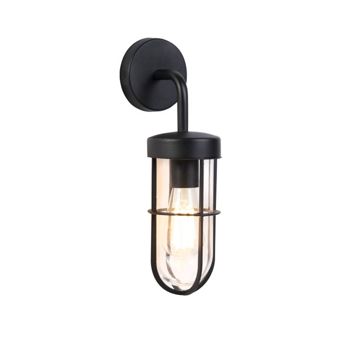 Country-Outdoor-Wall-Lamp-Black-with-Glass---Elza