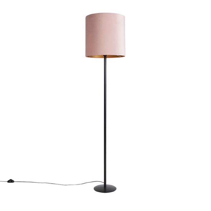 Black-floor-lamp-with-velor-shade-pink-with-gold-40-cm---Simplo