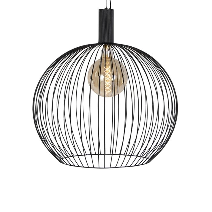 Modern Round Pendant Lamp 70cm Black Wire Lampandlight