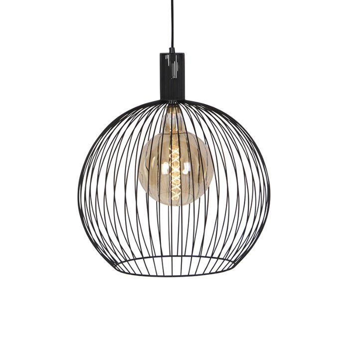 Modern-Round-Pendant-Lamp-50cm-Black---Wire