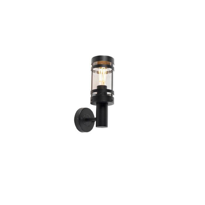 Modern-outdoor-wall-lamp-black-IP44---Gleam