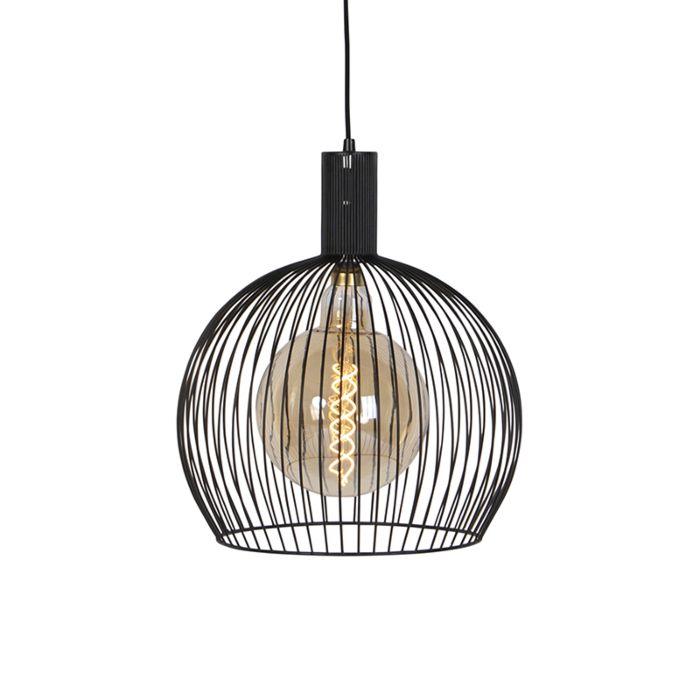Modern Round Pendant Lamp 40cm Black Wire Lampandlight