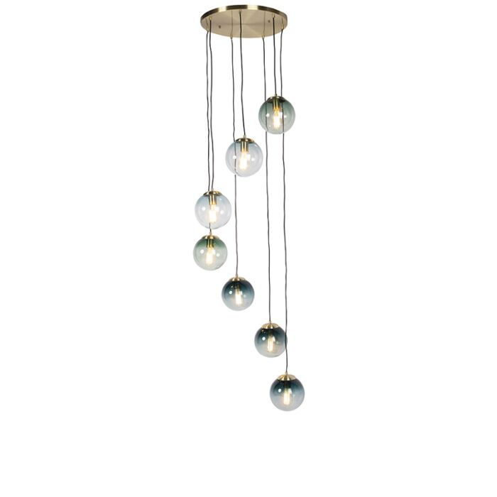 Art-Deco-Pendant-Lamp-Brass-with-7-Ocean-Blue-and-Green-Shades---Pallon