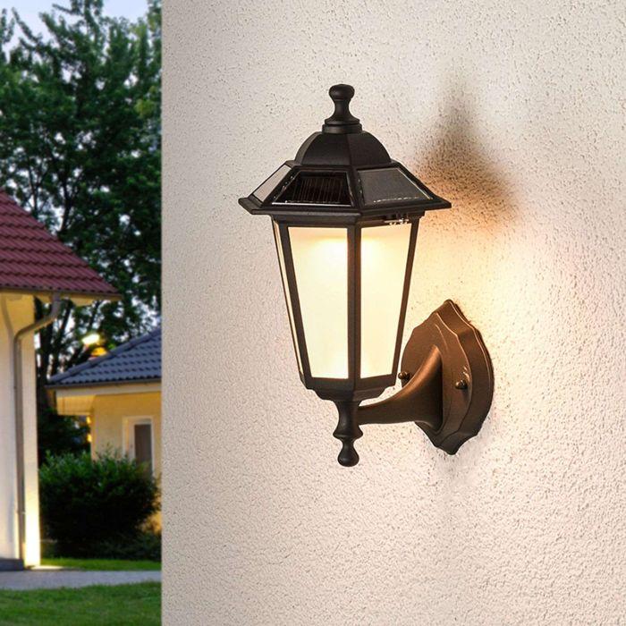 Classic-outdoor-lamp-black-lantern-incl.-LED-solar---Kristin