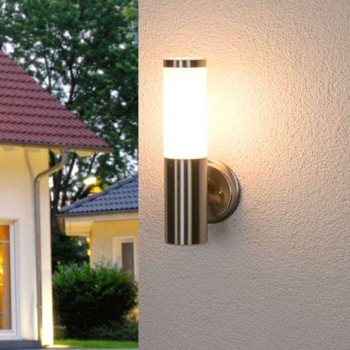 Modern outdoor wall lamp stainless steel milk glass IP44 Kristof
