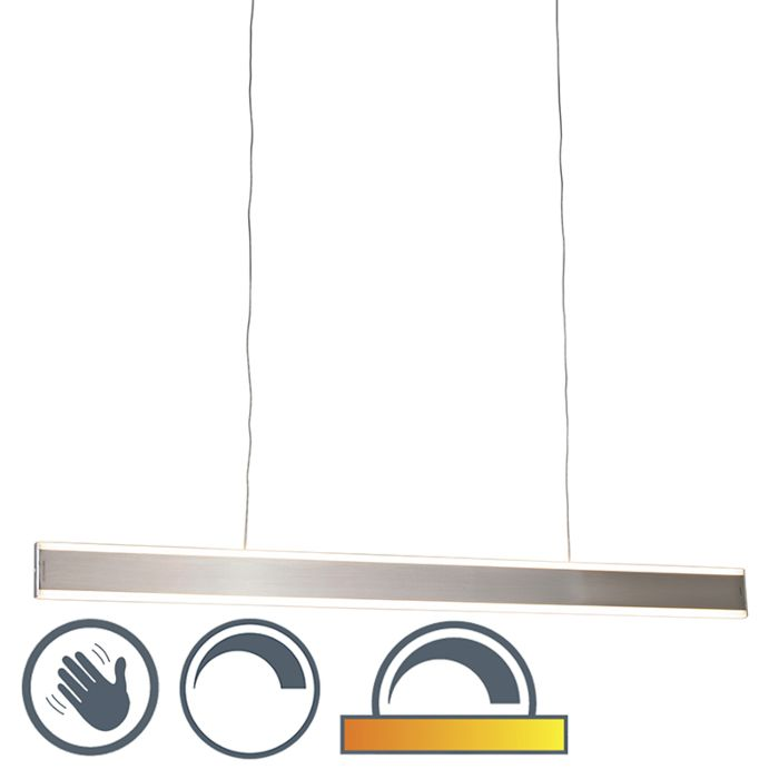 Modern-hanging-lamp-steel-incl.-LED-100-cm-dim-to-warm---Ollie